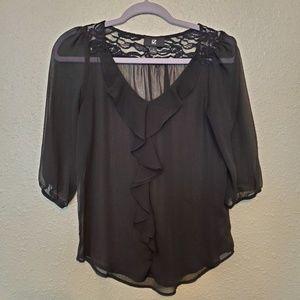IZ byer black sheer ruffled blouse